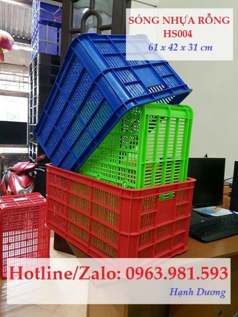 Sọt nhựa HS004, thùng nhựa rỗng HS004, sóng nhựa hở