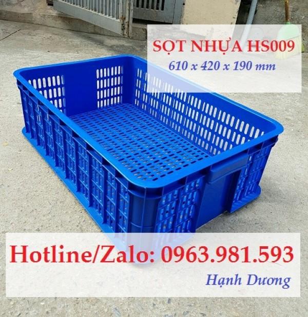 Sọt nhựa HS009, thùng nhựa rỗng HS009, sóng nhựa hở