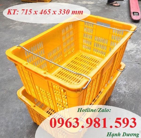 Sọt nhựa quai sắt HS011, thùng nhựa rỗng