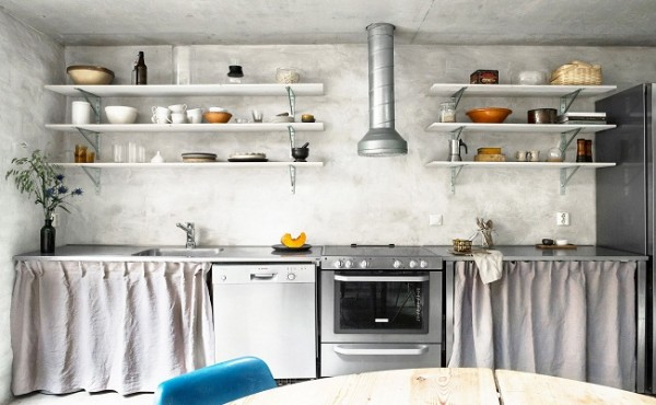 Sử dụng rèm treo trang trí cho gian bếp thêm xinh