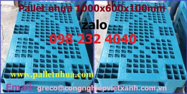 Tấm kê hàng nhựa xanh 1000x600x100mm