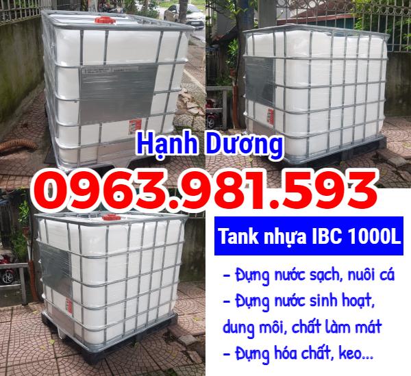 Tank nhựa IBC 1000L, bồn nhựa 1 khối, tank nhựa