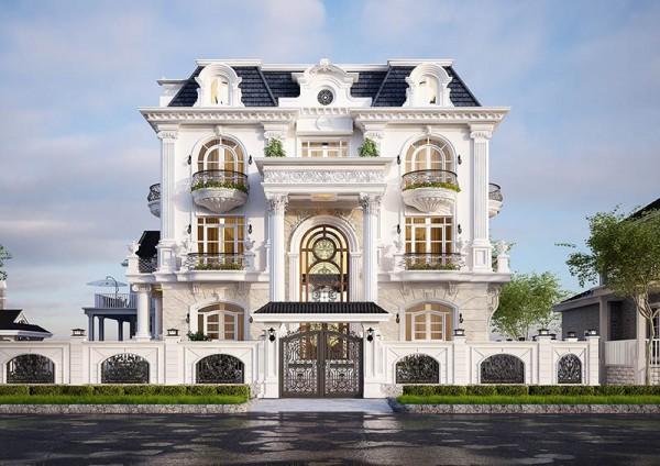 Thiết kế ngoại thất mẫu biệt thự 3 tầng tân cổ điển