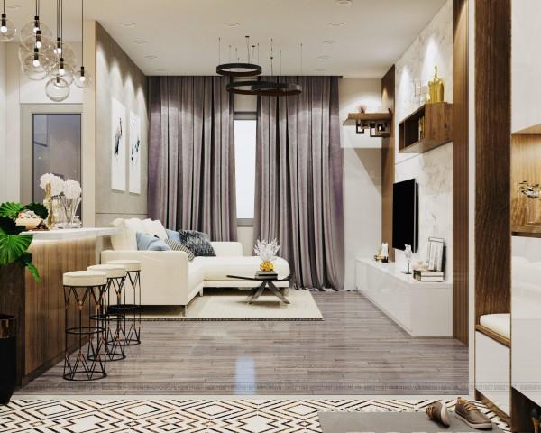 Thiết kế nội thất căn hộ 2 phòng ngủ 75m2 Vinhomes Green Bay