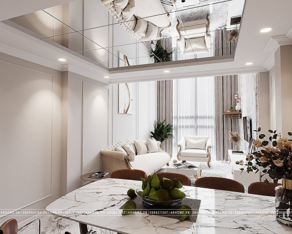 Thiết kế nội thất phòng khách bán cổ điển cho nhà ống hẹp
