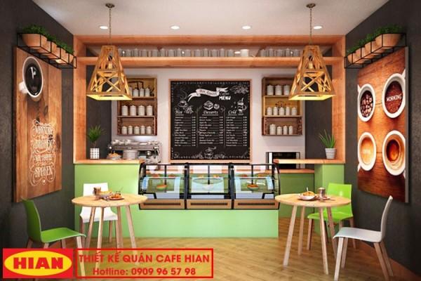 Thiết kế quán cà phê nhỏ kết hợp bán đồ ăn