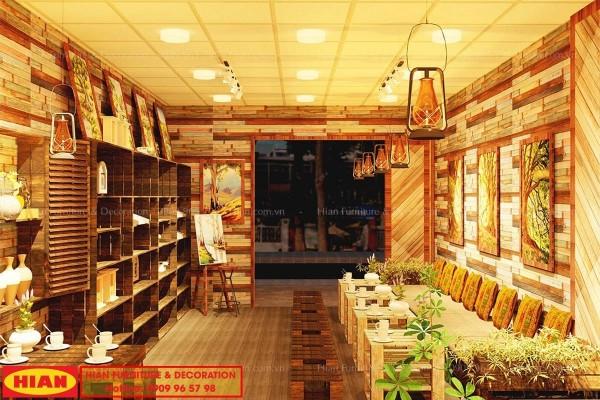 Thiết kế quán cafe Vintage đồ xưa từ gỗ Pallet sang trọng