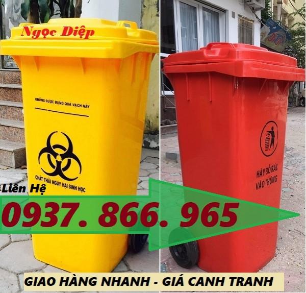Thùng đựng rác có nguy cơ lây nhiễm, thùng rác công nghiệp 120 lít, thùng đựng rác thải Y tế