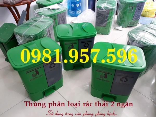 Thùng phân loại rác 40L, thùng phân loại rác 2 ngăn, thùng phân loại rác cho văn phòng