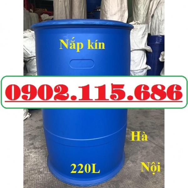 Thùng phi nhựa 200l, thùng phi nhựa làm bè, thùng phi nhựa 200l nắp kín, thùng phi nhựa 200l cũ,