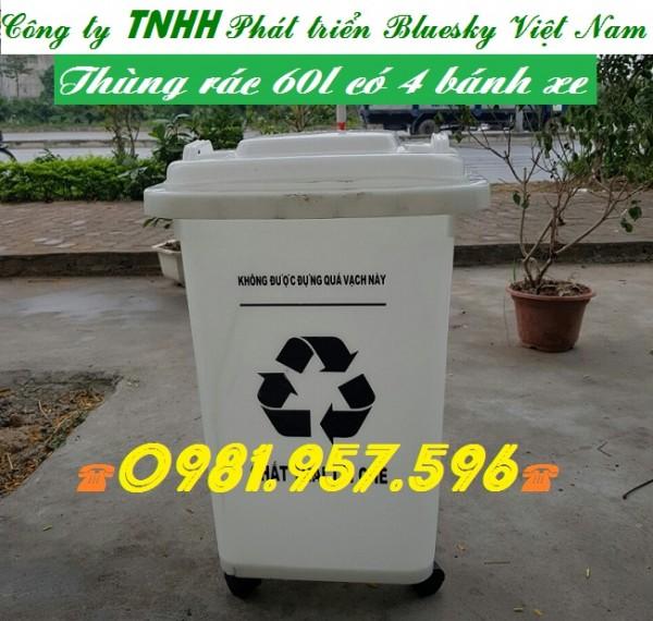 Thùng rác 60l, thùng rác 4 bánh xe, thùng rác y tế