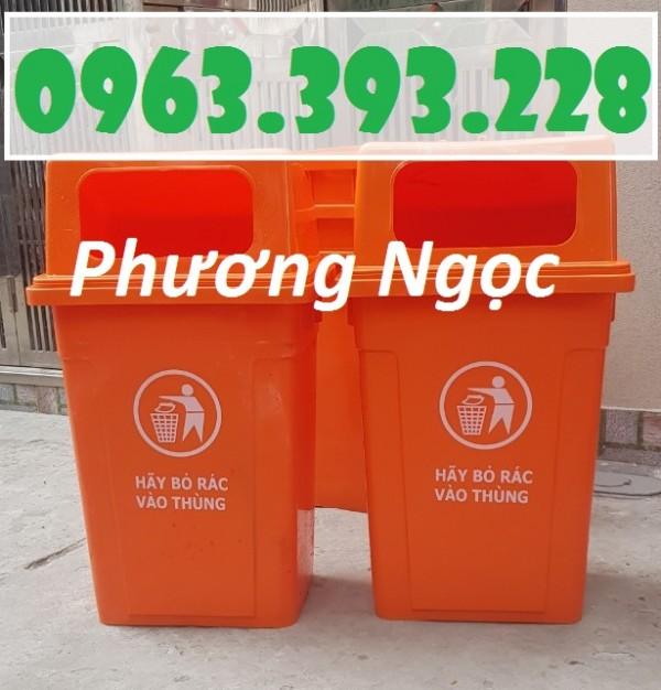 Thùng rác 90 Lít nhựa HDPE, thùng rác cửa ngang, thùng rác nắp hở