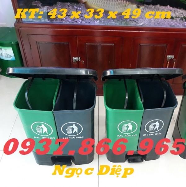 Thùng rác đạp chân 2 ngăn, thùng rác 2 ngăn 40l, thùng phân loại rác thải 2 ngăn