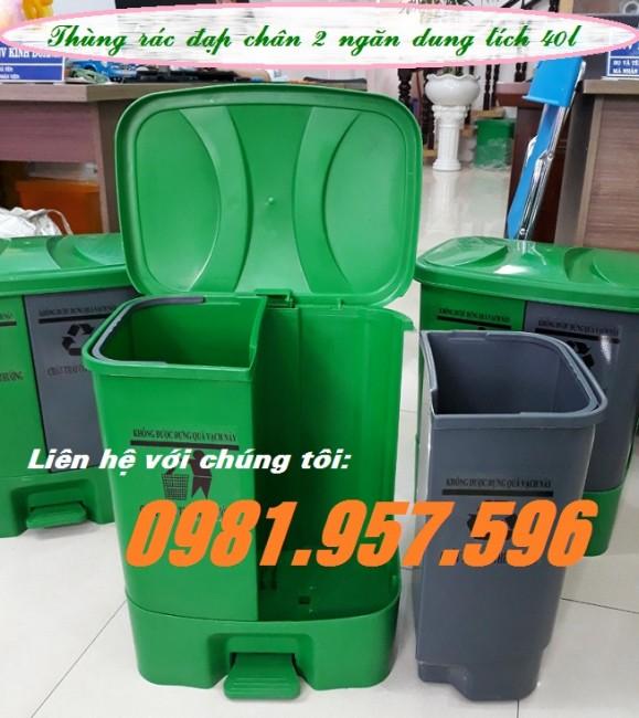 Thùng rác đạp chân ngăn đôi, thùng rác đạp chân 2 ngăn