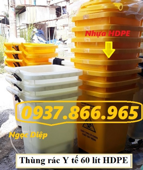 Thùng rác HDPE 60 lít, thùng rác 60 lít có 4 bánh, thùng rác 60 lít nắp kín