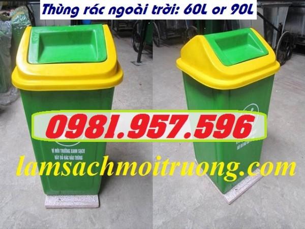 Thùng rác nắp lật ngoài trời, thùng rác nắp lật 90L, thùng rác nắp lật xanh vàng