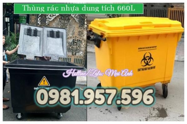 Thùng rác nhựa 660L, xe rác công nghiệp 660L, xe rác nhựa