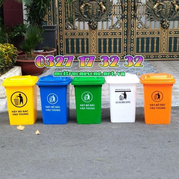 Thùng rác nhựa hdpe 60l 4 bánh xe giá rẻ