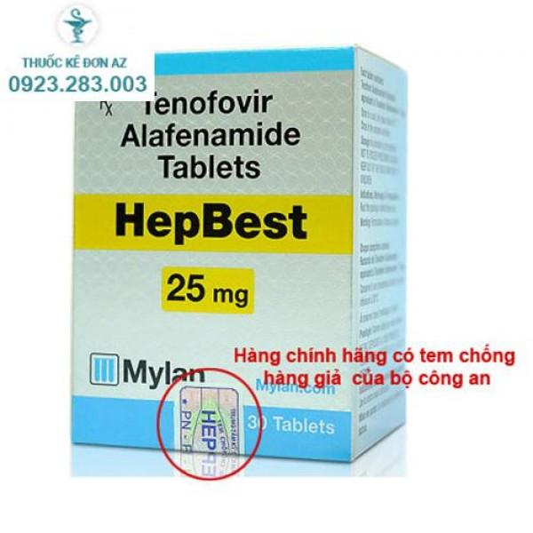 Thuốc hepbest 25mg mylan điều trị viêm gan B