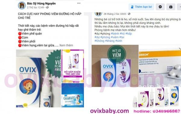 Trẻ viêm mũi họng tái lại nhiều lần các mẹ tham khảo Ovix an toàn hiệu quả không kháng sinh