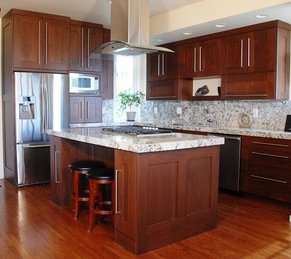Tủ bếp gỗ công nghiệp đẹp tiện nghi hiện đại.