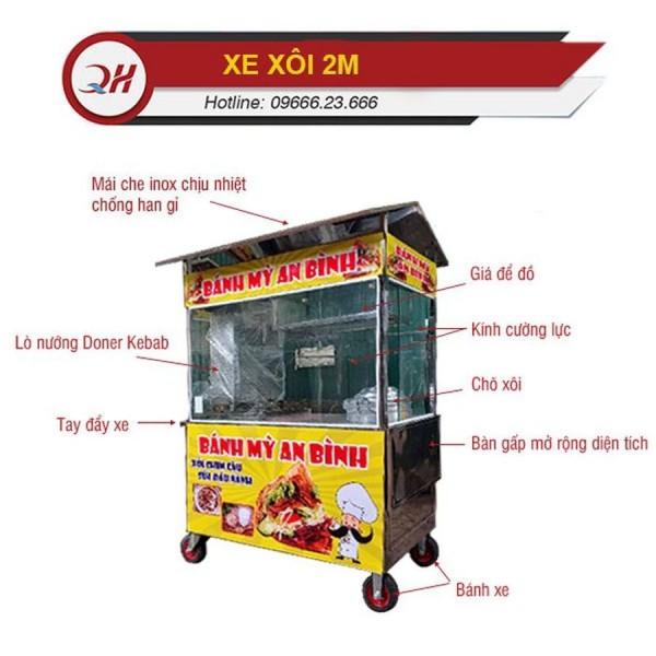 Xe đẩy bán xôi bánh mì inox 304 Quang Huy
