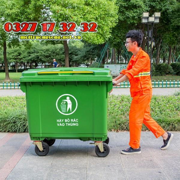 Xe gom rác đường phố 660L nhựa HDPE giá rẻ HCM