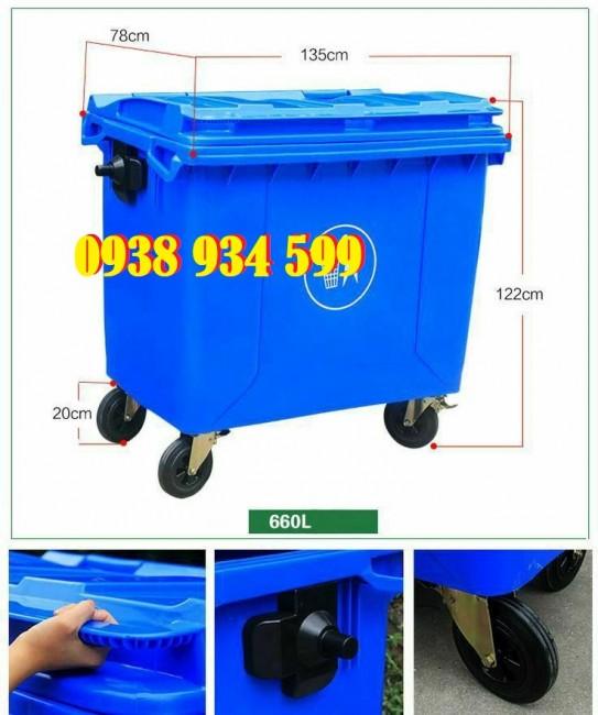 Xe thu gom rác thải công cộng 660 lít giá rẻ