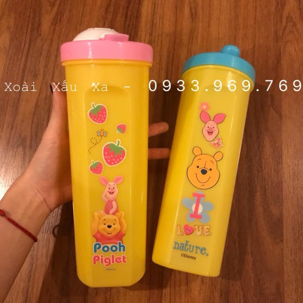 [Xoài Xấu Xa Shop] bình nước uống có nắp đậy gấu winnie the pooh, gấu rilakkuma thái lan 1 lít