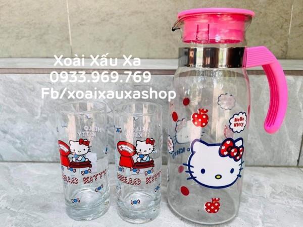 [Xoài Xấu Xa Shop] bộ bình nước và 2 ly nước thủy tinh hello kitty nhà bếp tiện lợi đáng yêu