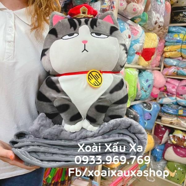 [Xoài Xấu Xa Shop] Bộ mền và gối 2 trong 1 mèo xám gấu bông siêu đáng yêu tiện lợi dễ thương
