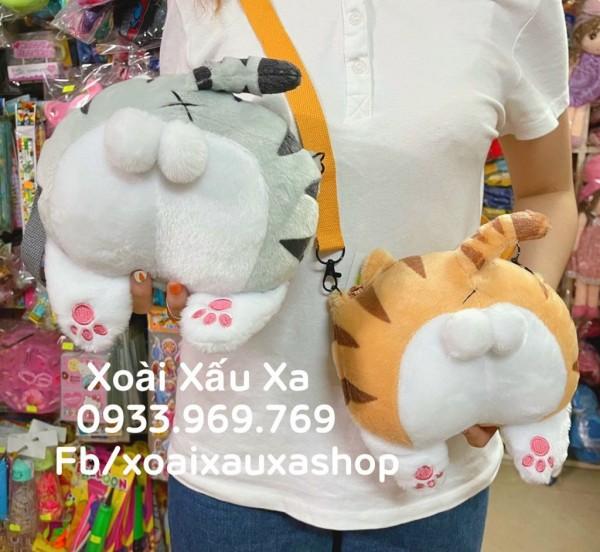 [Xoài Xấu Xa Shop] túi xách đeo chéo hình mông mèo gấu bông ngộ nghĩnh đáng yêu cute dễ thương